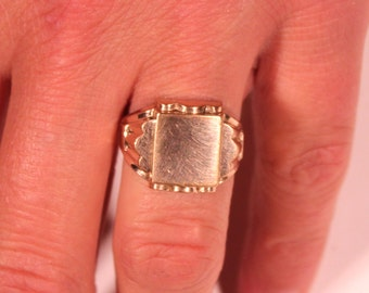 Vintage Art Deco Ring Gold Plated Signet Ring 1930s Art Deco Modernist French Jewelry Size Ring 6.50 US Stamped Gold Plated