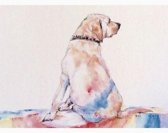 "DOG Painting - ACEO Fine Art Print -Painting - Miniature Print -Animal Art, ""Rainbow Dog"" - Art - Animal Lover - Unique Gift"