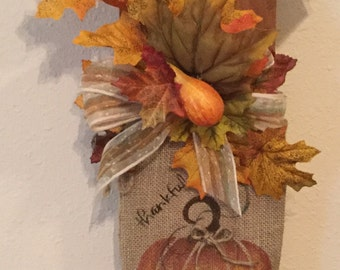 Fall Pumpkin Sack Sign  Upcycled Wood Shingle Holiday Sign Hand painted pumpkin on Burlap Country Housewarming Gift Country Decor Fall Sign
