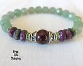 Ruby Zoisite bracelet, Aventurine, Garnet, healing bracelet, mala, Yoga Bracelet, Meditation bracelet, Reiki, wrist mala, ruby bracelet