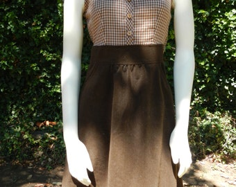 Brown gingham and corduroy dress