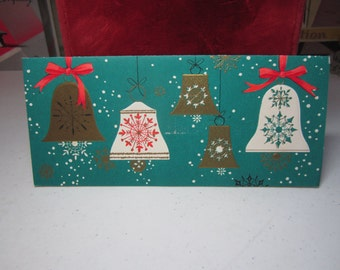 Mid century 1950's embossed gold gilded bright green christmas card with gold and white bells with snowflake designs
