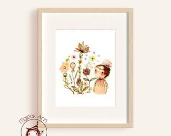Mes Fleurs - Girl and Garden - Girl and Flowers - Nursery Decor - Fine Art print - baby decor - adorable whimsical baby girl illustration