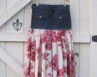 Floral skirt XS/S, cowgirl denim skirt long floral skirt, pleated skirt, bohemian denim, Eco fashion