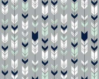Nursing Pillow Cover - Gray, Navy, Mint Fletching Arrow and Minky Boppy Cover - Northern Nights, Arrow