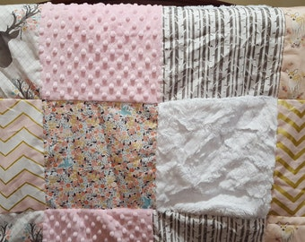Baby Girl Deer Patchwork Blanket - Fawn, Flowers, Pebble Birch, Confection Chevron, Pearlized Chevron, Tulip Stag, and White Crushed Minky