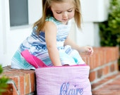 Monogrammed Easter Basket Bucket Tote Toy Storage