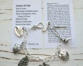 Armor of God Handmade Charm Bracelet, Card with Bible Verse Included, by Okrrah