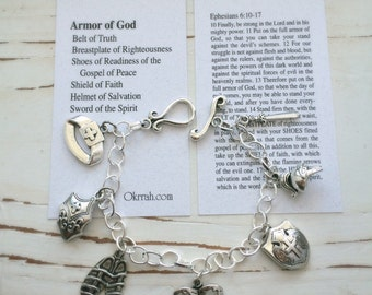 Armor of God Handmade Charm Bracelet, Card with Bible Verse Included, by Okrrah