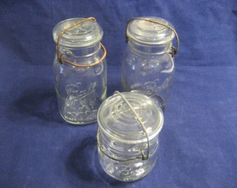 3 Ball Ideal Mason Jars with Wire Bails and Glass Lids Vintage 1940s / 1950s