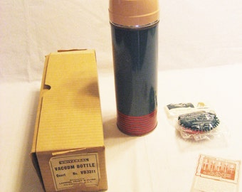 Lenders Frary & Clark Universal Thermos with Cork Vintage 1940s Glass Lined Vacuum Bottle
