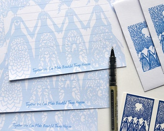 Sisters - Writing Set - Handmade and Illustrated - Printed Envelopes - With Stickers - Beautiful Gift for Sister