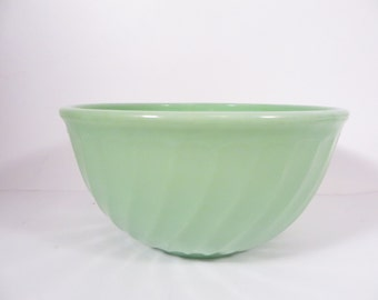 Vintage Fire King Jadeite Fireking Green Swirl Bowl - 8 Inch Jadeite Bowl