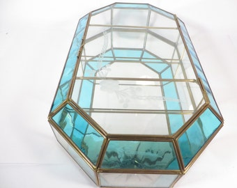 Vintage Turquoise Clear Glass Brass Octagon Box - Glass Mirror Brass Display Box