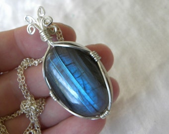 "Labradorite Pendant Labradorite Necklace Handmade Blue Semiprecious Gemstone 25"" Silver Plated Chain Take 20% Off Blue Labradorite Jewelry"