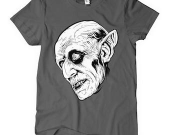 Women's Nosferatu T-shirt - S M L XL 2x - Ladies' Vampire Tee, Dracula, Scary, Horror - 4 Colors