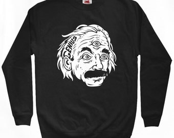 Genius Sweatshirt - Men S M L XL 2x 3x - Crewneck, Einstein, Math, Physics, Relativity - 2 Colors