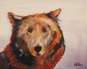 Sweet Boy, painting of a bear, small bear, expressive, 12 x 16 size