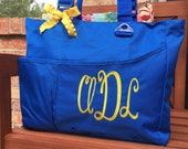 Monogram Super Feature Tote - Personalized Solid Color Book Bag Bridesmaids Teachers Monogrammed Initials Diaper