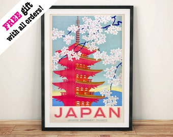 JAPANESE TEMPLE POSTER: Vintage Pink Japan Cherry Blossom Advert, Art Print Wall Hanging