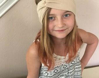 Twist front turban headband in tan, tan solid head band, neutral beige headband