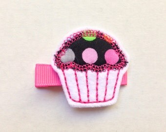 Girls Hair Accessories - Felt Hair Clips - Pink Black Fabric Felt Embroidered Cupcake Hair Clippie - Hair Clip Clippie - Birthday Cupcake