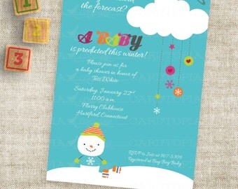 Winter Snowman Baby Shower or Birthday Party Invitation Printable Custom Digital Printable File with Professional Printing Option