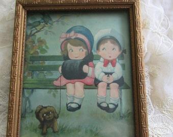 Vintage Adorable Boy And Girl Couple Sitting On Bench Framed Print Wedding Gift Vintage Decor Children Framed Prints Anniversary Gift