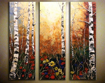 Original Fall Birch Tree Painting Large Abstract Artwork Triptych Autumn Forest Painting Colorful Wall Art Home & Office Decor by Nata S.