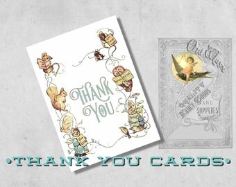 Printed Storybook Baby Shower Thank You Card - Custom Folding Thank You Note Card  with Envelope - Beatrix Potter Thank You Card Baby Shower