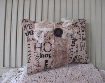 Pillow Burlap Faith Hope Love Lettering Tan and Black Gauze Bow Brown Vintage Button 10x7 Home Decor Small Pillow