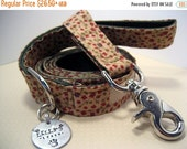 XOXO SALE // Floral Fabric Dog Leash - Dog Leash - Fabric Leash - Dog Leash with personalized Charm