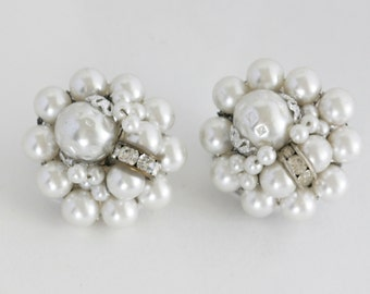 Beautiful White Faux Pearl and Rhinestone Cluster Clip On Earrings Signed Japan  // Vintage Estate Jewelry // fruitsdesbois