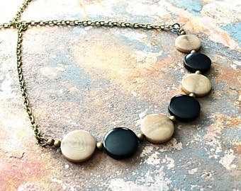 Tagua Nut Jewelry - Tagua Necklace - Natural Tagua Nut - Brown Black Jewelry - Bronze Necklace - Eco Friendly Jewelry - Round Pendant