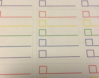 Rainbow check box planner stickers