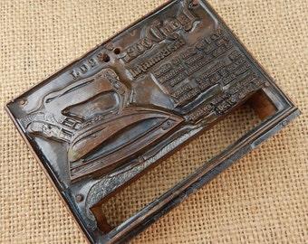 Large 1920's Letterpress Printing Block  ~  Large Advertising Letterpress Printing Block  ~  Copper Plate Printing Press Block  ~ Lady Dover