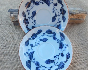 2 Navy Blue Floral Saucers with Blue Glaze  ~  Navy Blue Floral Pattern with Blue Glaze Saucers