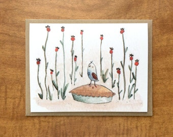 Bird on a Pie Greeting Card