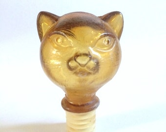 Large Vintage 1950s Bessi Tuscan Italian Wine Bottle Decanter Cat Stopper Topper Amber Glass Kitty Head Rare Collectible Replacement Top