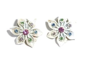 Vintage Earrings Vintage Enamel Flowers W/ Multi Color Rhinestone Earrings vintagelady7