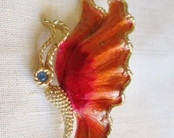 Vintage Enamel Rhinestone Butterfly Figural Brooch Pin  Vintage Jewelry By Vintagelady7