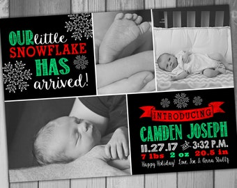 Christmas Card Birth Announcement Baby Boy Baby Girl Printable Photo Holiday Card New Baby Chalkboard Birth Photo Christmas