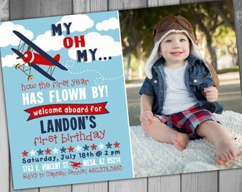 Airplane Invitation Airplane Birthday Invitation 1st Birthday First Birthday Plane Birthday Photo Invitation Boy Birthday Printable Invite