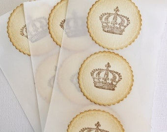 Crown Stickers, Crown Seals, Crown Favor Stickers, Crown Envelope Seals, Prince Princess Stickers, Decor, Set of 10 Vintage Style Stickers