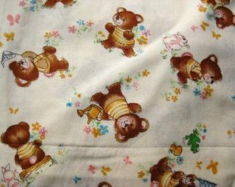 Vintage 60s Honey Bear Cranston Novelty Juvenile Print Fabric Remnant 1.6 Yards