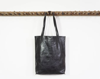 Simple Leather Tote - Black - SALE - 50% OFF