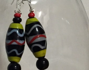 African Inspired Glass Earrings