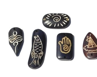 Set of 5 Bone Pendants, Dark Brown Carved Designs, Fish Sailboat, Sun Hand, Tiki Man, Craft Supplies, Jewelry Making White Antiquing