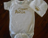 Crown Prince Baby Onsie and Beanie Set