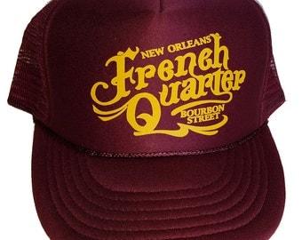 French Quarter New Orleans  Snapback Mesh Trucker Hat Cap Maroon